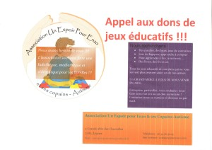 APPEL AUX DONS DE JEUX EDUCATIFS